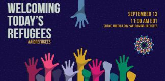 Welcoming today's refugees poster with hands raised (State Dept.)