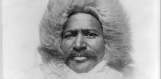 Close-up of Matthew Henson in fur coat and hood (Library of Congress)