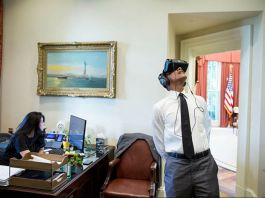 President Obama with virtual reality goggles (White House / Pete Souza)