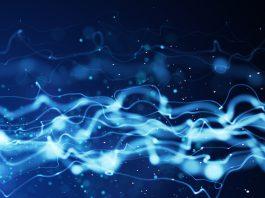 Linhas azuis e onduladas representando um fluxo de energia (Gonin/Shutterstock)