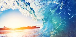 Ocean wave and sunset (© Shutterstock.com)