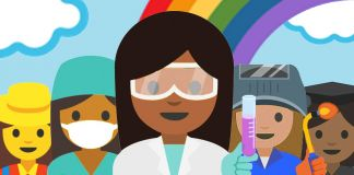Illustration of female professional emoji standing in front of rainbow (Google)