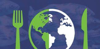 """Infográfica de la conferencia """"Nuestro Océano"""" muestra un tenedor, un cuchillo y un plato representando al mundo (Depto. de Estado)"""