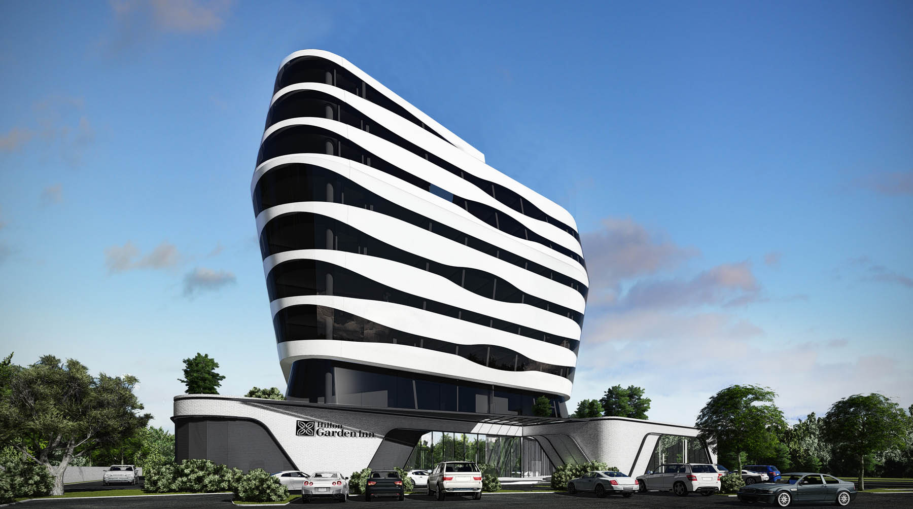 Футуристическое здание отеля (Courtesy of Hilton Garden Inn)