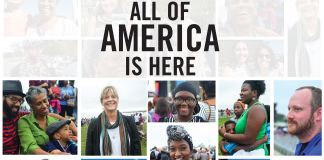 """Colagem de fotos com os dizeres: """"Todos os Estados Unidos estão aqui"""" (Departamento de Estado/S. Gemeny Wilkinson)"""