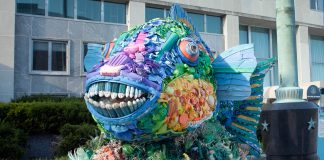 Fish made of recycled products in front of State Department (State Dept./D.A. Peterson)