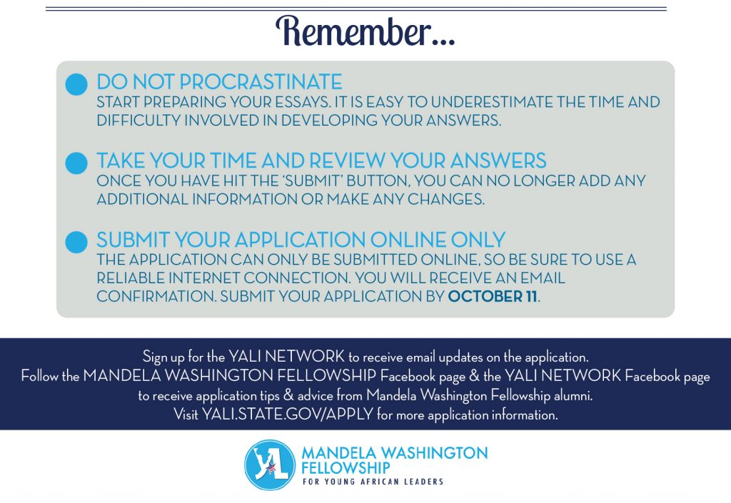 Infographic with points to remember when applying for the Mandela Washington Fellowship (State Dept.)
