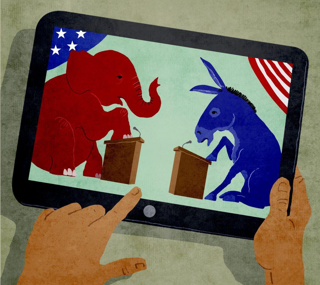 Illustration of man watching debate on tablet.