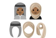 Illustration of two emojis wearing hijabs and three options for hijabs underneath (Courtesy of Aphee Messer)