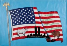 American flag showing gift of cows from Maasai people to U.S. after 9/11 (Collection 9/11 Memorial Museum, Gift of Wilson Kimeli Naiyomah and the Maasai people of Kenya, Photo by Matt Flynn)