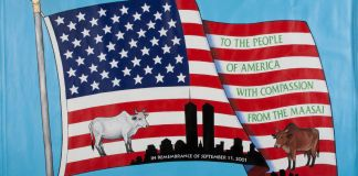 American flag showing gift of cows from Maasai people to U.S. after 9/11 (© Matt Flynn/9/11 Memorial Museum/Gift of Wilson Kimeli Naiyomah and the Maasai People of Kenya)