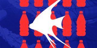 Silueta de un pez ángel frente a botellas de plástico (Depto. de Estado/L. Rawls)