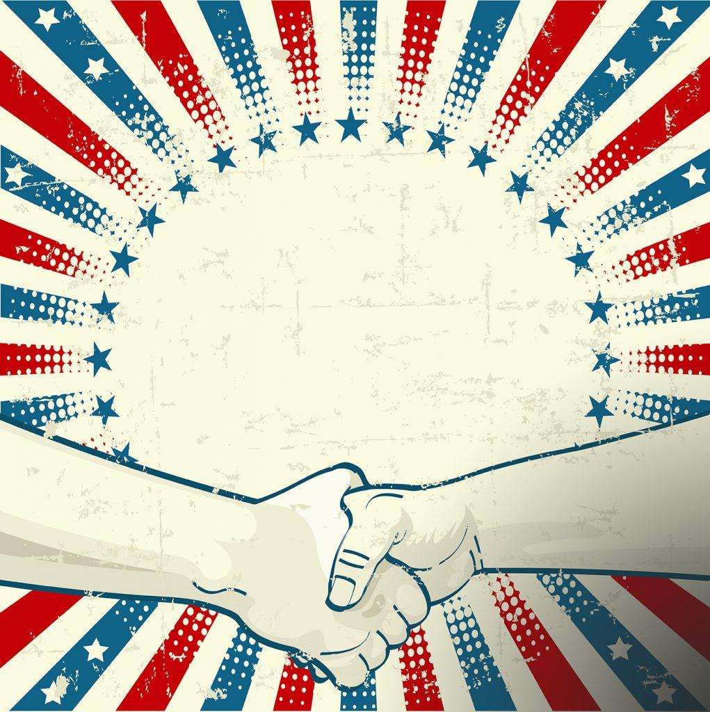 Dessin d'une poignée de mains dans un halo d'étoiles et de rayures, aux couleurs du drapeau américain (Shutterstock)