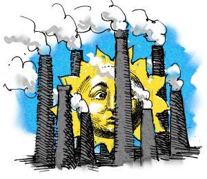 Ilustrasi cerobong asap menghalangi matahari (State Dept./D. Thompson)