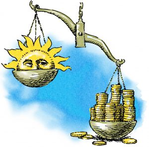 Illustration of balance scale with money outweighing solar (State Dept./D. Thompson)