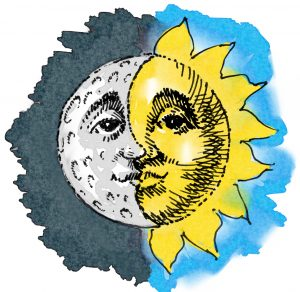 Illustration showing half sun and half moon making full sphere (State Dept./D. Thompson)