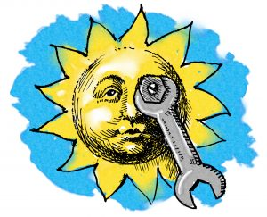 Illustration of wrench tightening bolt on sun (State Dept./D. Thompson)