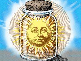 Ilustrasi matahari di guci disumbat. (State Dept./Doug Thompson)