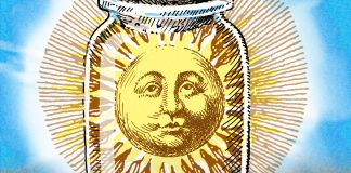 Illustration of sun in corked jar (State Dept./Doug Thompson)