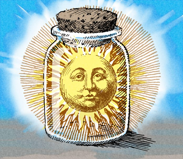 Illustration of sun in corked jar (State Dept./Doug Thompson)