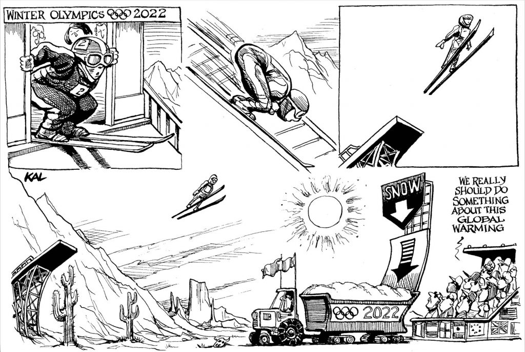Cartoon of skiing man jumping into a truck filled with snow as commentary on global warming (© Kevin Kallaugher)