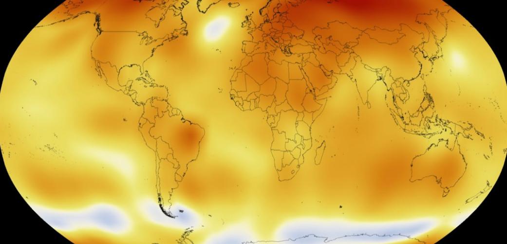 Carte du monde illustrant le réchauffement des températures à la surface de la Terre, en 2015. (Crédit photo : NASA)