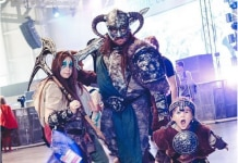 Woman, man and child dressed in Viking costumes (Instagram/comicconrussia)