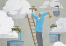 Illustration of man hammering water tap into cloud (State Dept./Doug Thompson)