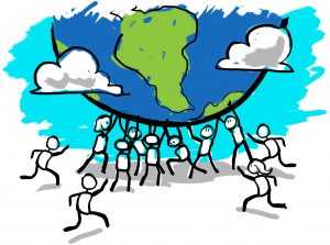 Illustration of figures holding up Earth (State Dept./D. Thompson)