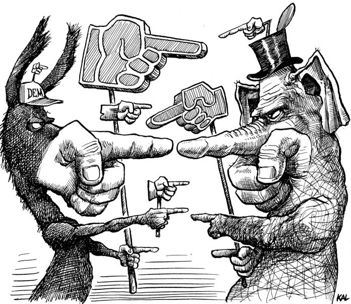 Cartoon of a donkey and an elephant facing each other holding signs of pointing human fingers (© Kevin Kallaugher)