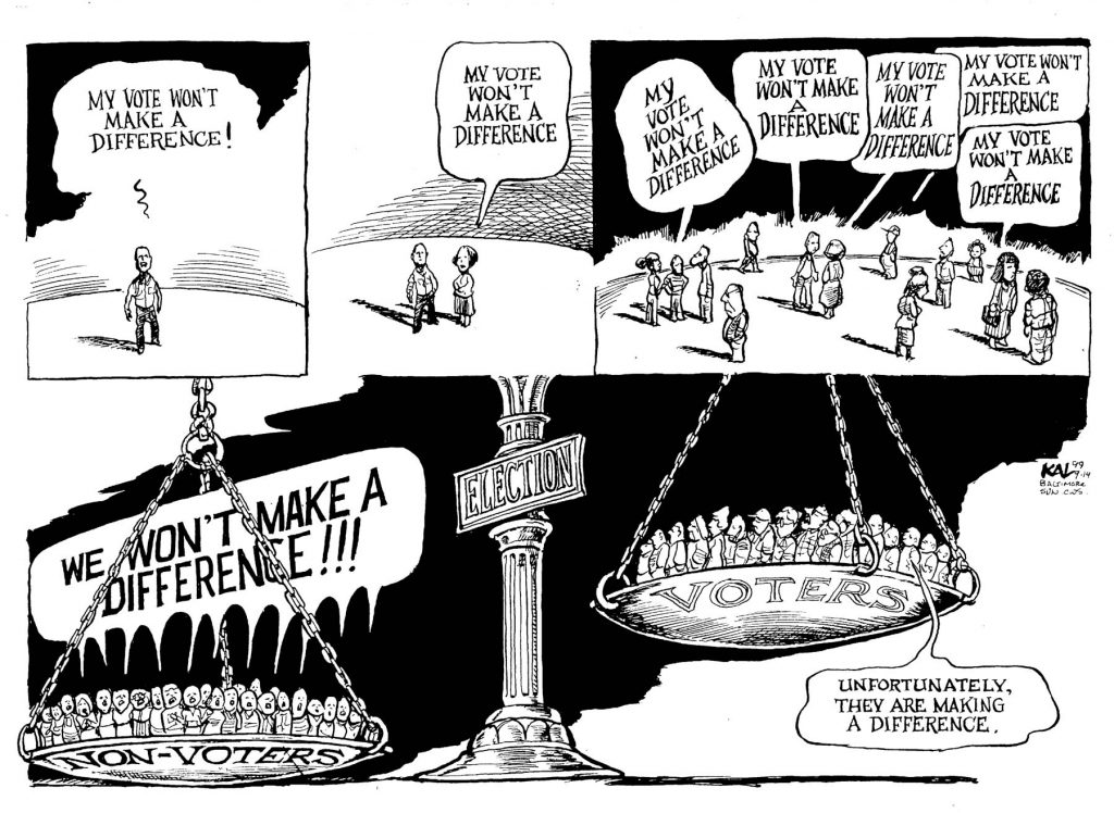 Cartoon of people saying votes don't make a difference and scales weighing nonvoters against voters (© Kevin Kallaugher)