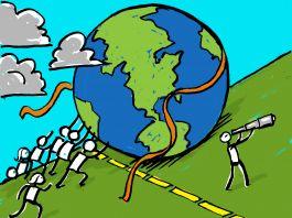 Ilustrasi orang mendorong dunia ke atas bukit (State Dept./D. Thompson)