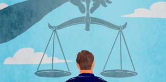 Illustration of a police officer standing under the scales of justice (State Dept./D. Thompson)