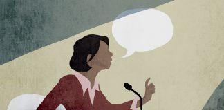 Ilustrasi wanita berbicara di podium dengan setumpuk gelembung bicara (State Dept./Doug Thompson)