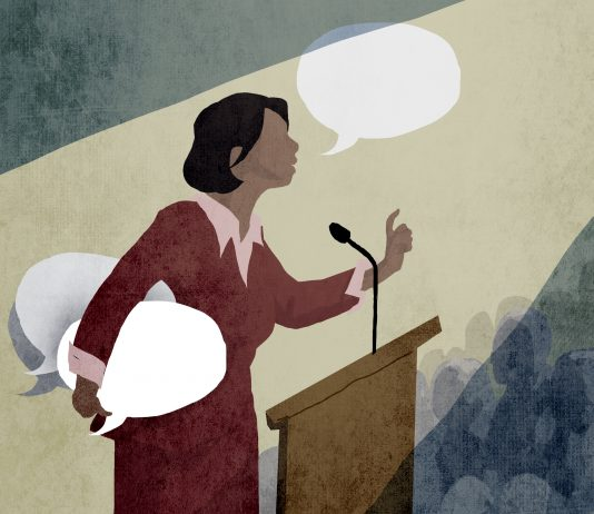 Illustration of woman speaking at lectern with armload of talk bubbles (State Dept./Doug Thompson)