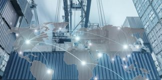 A shipping container with a world map overlay (Shutterstock)