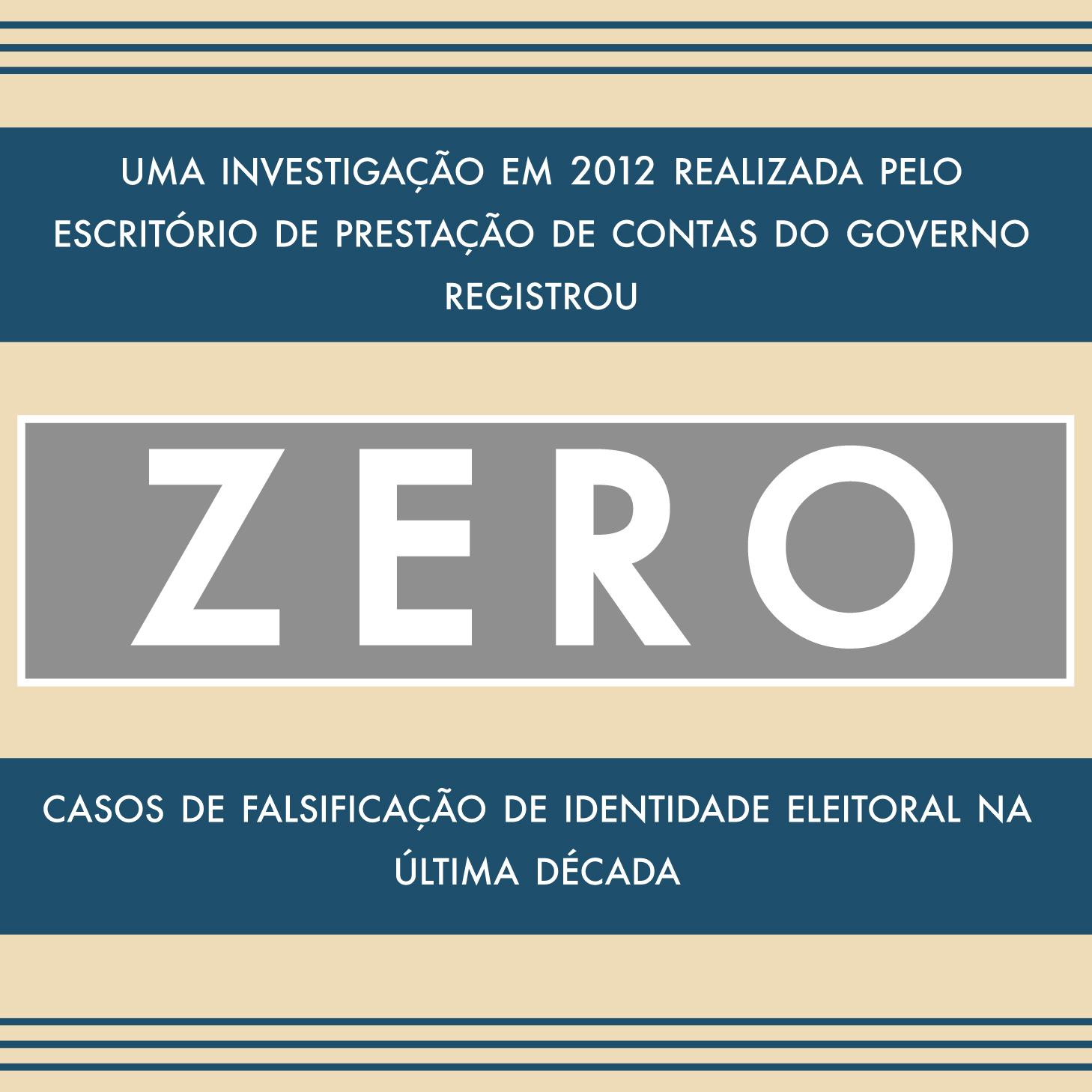 """Gráfico com os dizeres: """"Uma investigação em 2012 realizada pelo Escritório de Contas do Governo registrou zero casos de falsificação de identidade eleitoral na última década"""" (Depto. de Estado/S. Gemeny Wilkinson)"""