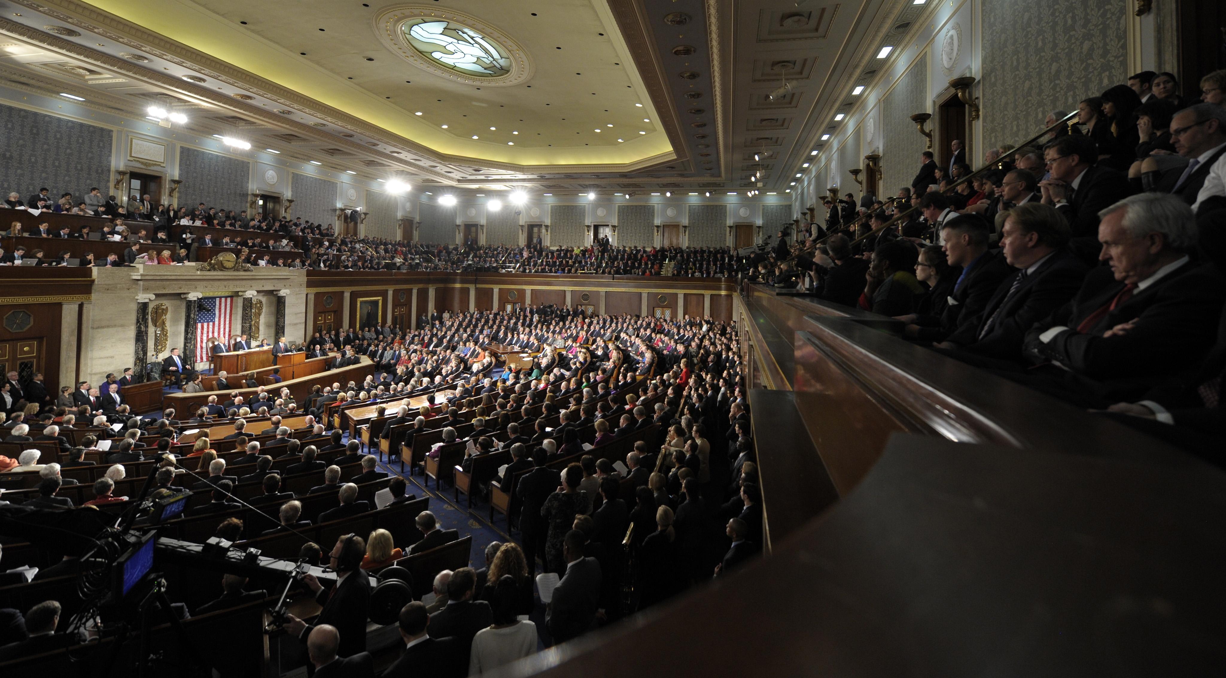 O presidente Obama discursando no Congresso (© AP Images)