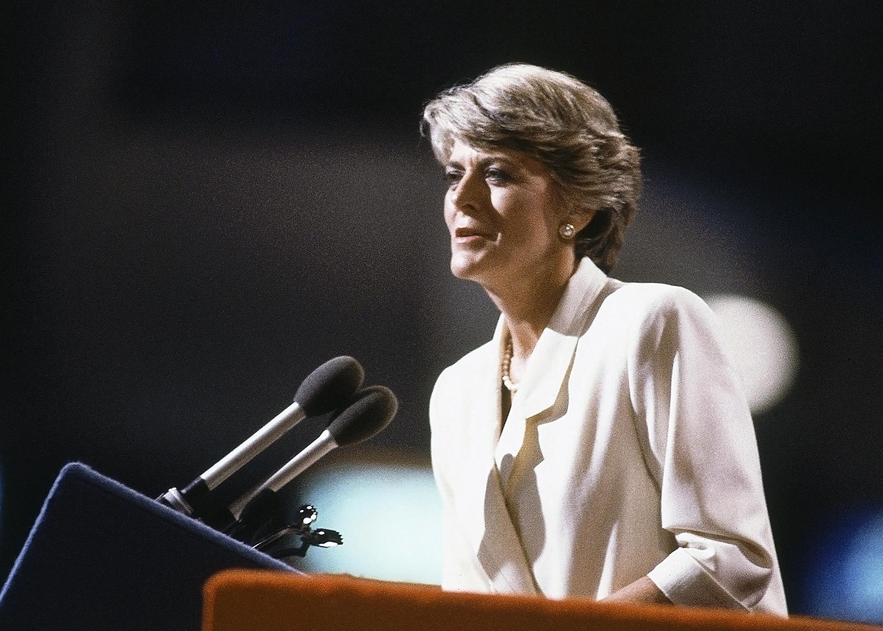 Geraldine Ferraro speaking at lectern (© AP Images)