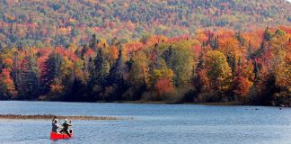 دو آدمی جھیل میں چبووں سے ایک چھوٹی کشتی چلا رہے ہیں اور پس منظر میں موسم خزاں میں رنگ برنگے پتے دکھائی دے رہے ہیں۔ (© AP Images)