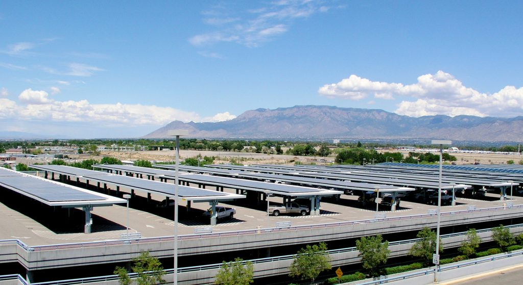 Solar panels on parking canopies (© AP Images)