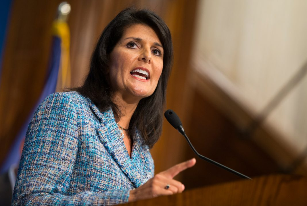 NIkki Haley speaking at lectern (© AP Images)