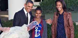 President Obama and his daughters standing next to live turkey (© AP Images)