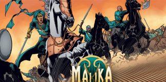 Dessin d'une femme, épée à la main, sur un cheval lancé au galop, suivie d'autres guerriers (© YouNeek Studios)