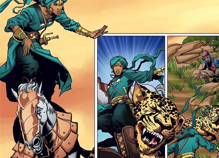 Page de BD dans laquelle une femme guerrière est debout sur un cheval et où elle se bat contre un léopard. (© YouNeek Studios)