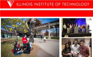 Composite photo showing students and logo of Illinois Institute of Technology (Courtesy of Illinois Institute of Technology)