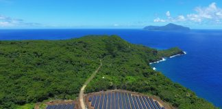 Aerial view of solar panels surrounded by forest on island (SolarCity)
