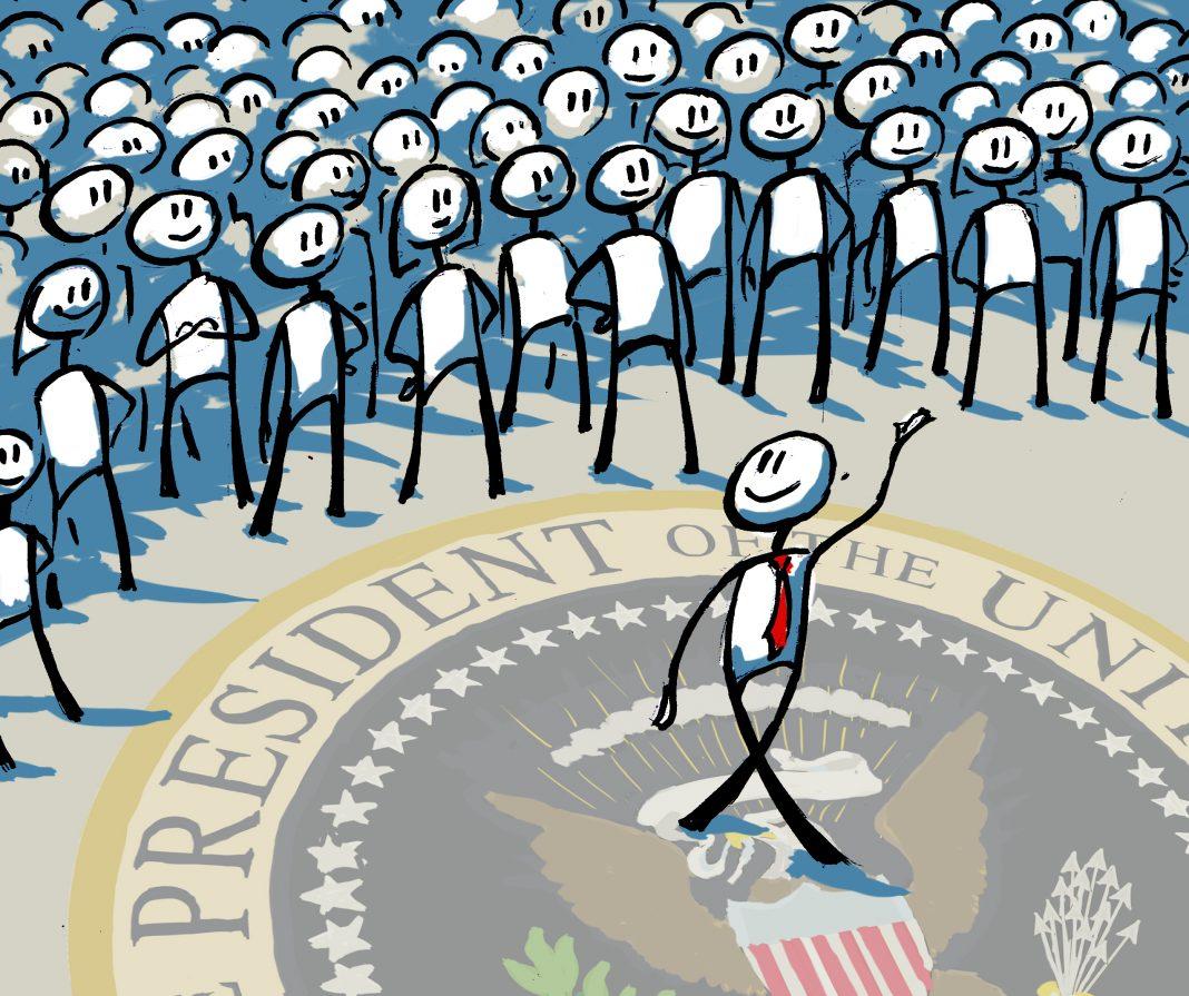 Ilustrasi orang yang berjalan jauh dari keramaian, segel Presiden AS di bawahnya (State Dept./Doug Thompson)