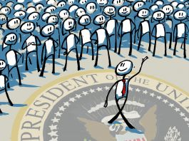 Illustration of person walking away from crowd, U.S. presidential seal underfoot (State Dept./Doug Thompson)