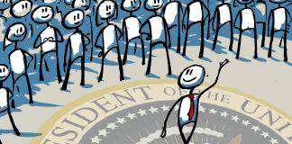 ہجوم سےنکل کر جاتے ہوئے ایک ایسے شخص کا خاکہ جس کے پیروں تلے امریکہ کی مہرِ صدارت ہے۔ (State Dept./Doug Thompson)